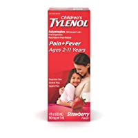 Children's Tylenol Oral Suspension Medicine, Acetaminophen Pain Reliever & Fever Reducer for Cold + Flu Symptoms & Sore Throat, Aspirin-, Ibuprofen- & Alcohol- Free, Strawberry, 4 fl. oz