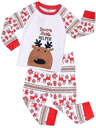 8e3b57a62fecb Pyjama Noël Enfant Manches Longues - Carton Garçon Filles Pyjamas de Noël  Set Père vêtements de