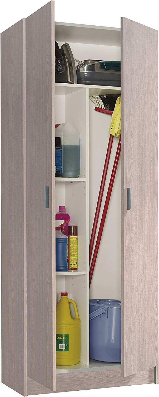 Habitdesign 007142R - Armario 2 Puertas escobero, Armario Multiusos, Color Roble, Medidas: 73 cm (Largo) x 180 cm (Alto) x 37 cm (Fondo)