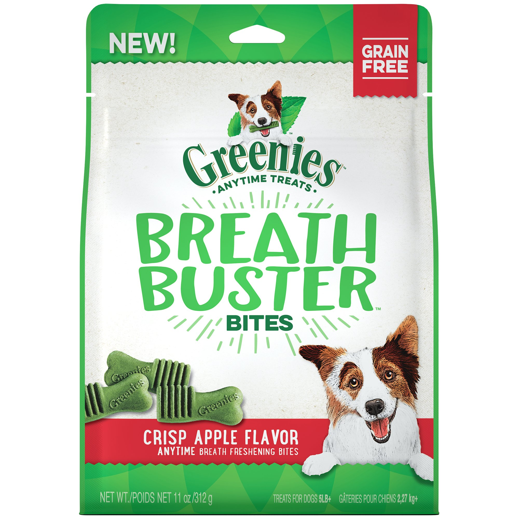 GREENIES BREATH BUSTER Bites Crisp Apple Flavor Treats for Dogs 11 Ounces