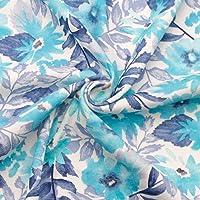 Jersey Interlock Jersey Jersey 100% algodón 160 cm de ancho tejido infantil (longitud: 50 cm, Aqua Flowers)