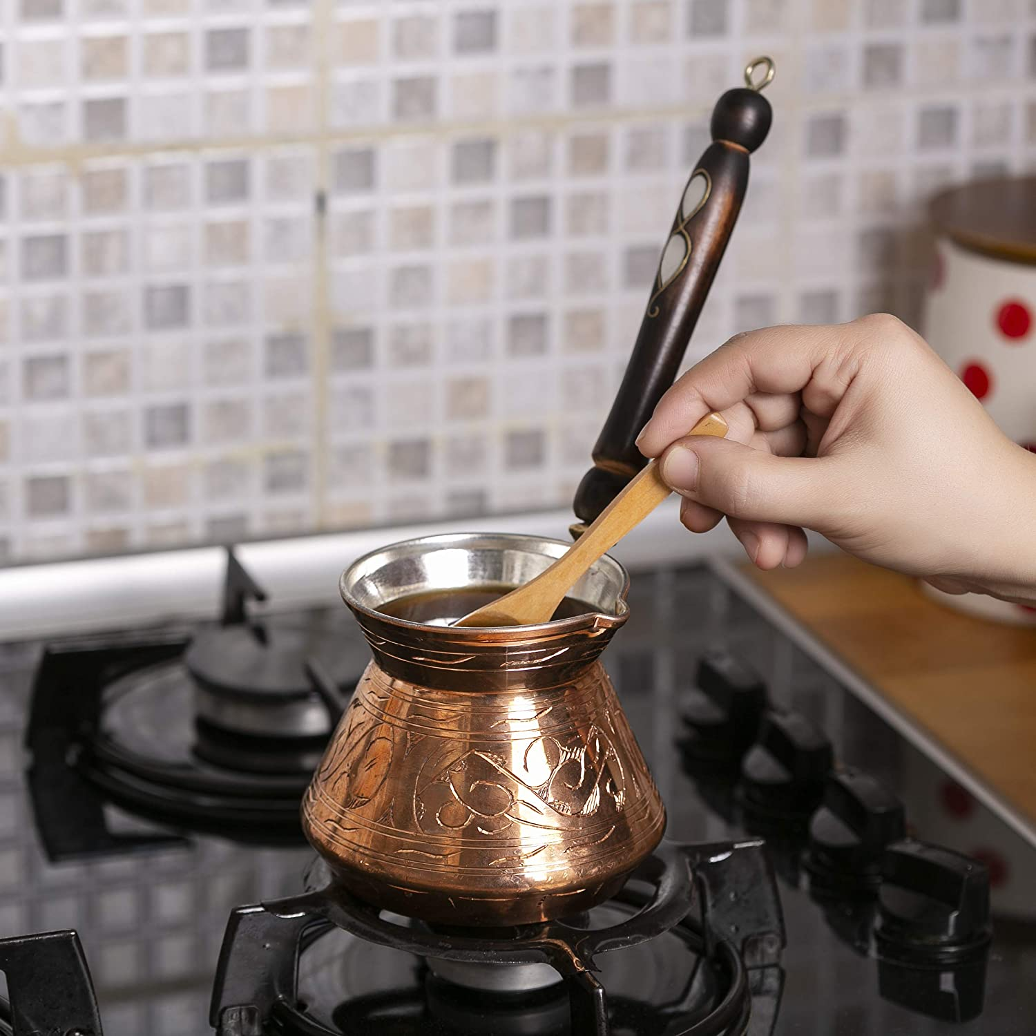 Turkish Coffee Pot, Greek Arabic Coffee Maker, Thickest Solid Hammered and Engraved Copper Coffee