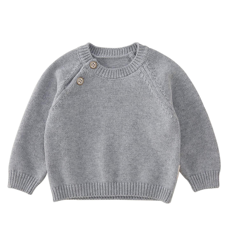 pureborn Baby Cotton Knit Solid Pullover Sweater Unisex Dark Grey 1-2 Years by pureborn