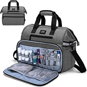 CURMIO Home Health Nurse Bag, Medical Supplies Bag with Padded Laptop Sleeve for Home Visits, Health Care, Hospice, Bag ONLY, Gray