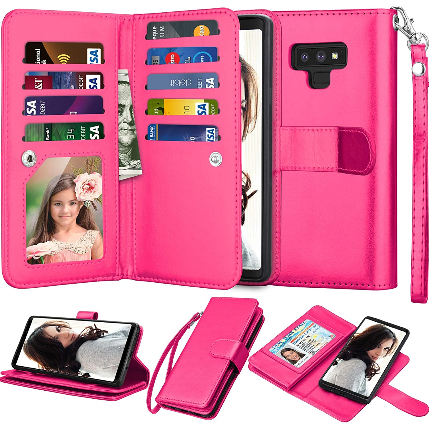 c19dad4795bb Njjex For Galaxy Note 9 Wallet Case, For Note 9 Case, Luxury PU Leather [9  Card Slots] ID Credit Folio Flip Cover [Detachable][Kickstand] Magnetic ...