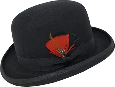 Different Touch 100/% Wool Felt Derby Bowler with Removable Feather Fedora Hats