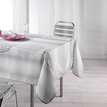 lharmonie du d/écor nappe rectangle 150x240cm argent bully perle