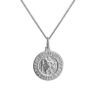 Collier et Pendentif Médaille de Saint Christophe en Argent 925 1000 Mate -  41 + 8a99c640578f