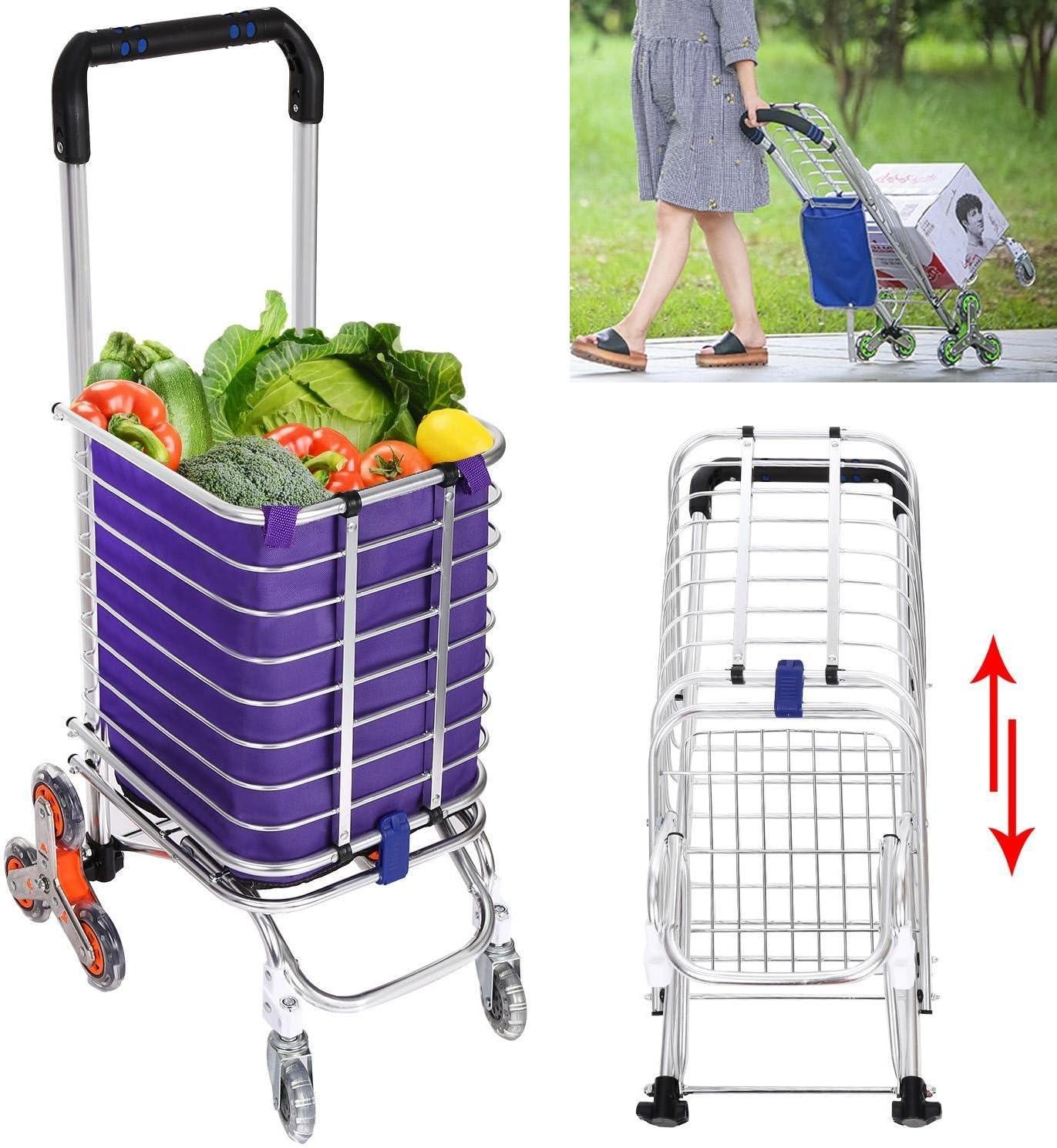 Hindom Portable Folding Travel Shopping Cart Aluminum Shopping Cart with Swivel Wheels Grocery Laundry Utility Cart US Stock Purple