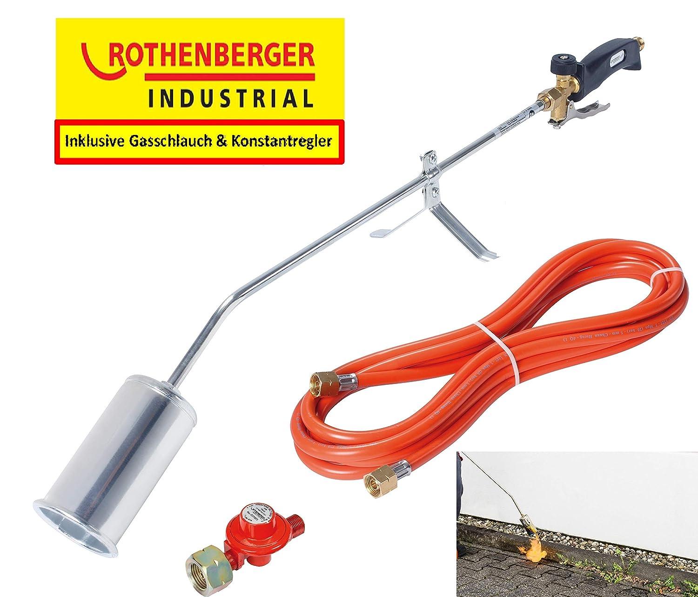 ROTHENBERGER Industrial 1000000234 Unkrautvernichter inkl. 2m Propan Gas Schlauch & Druckregler, VERSION FRANKREICH ROUYB