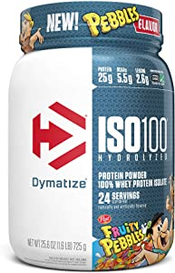 Dymatize ISO100 Hydrolyzed Protein Powder, 100% Whey Isolate Protein, 25g of Protein, 5.5g BCAAs, Gluten Free, Fast Absorbing, Easy Digesting, Fruity Pebbles, 1.6 Pound