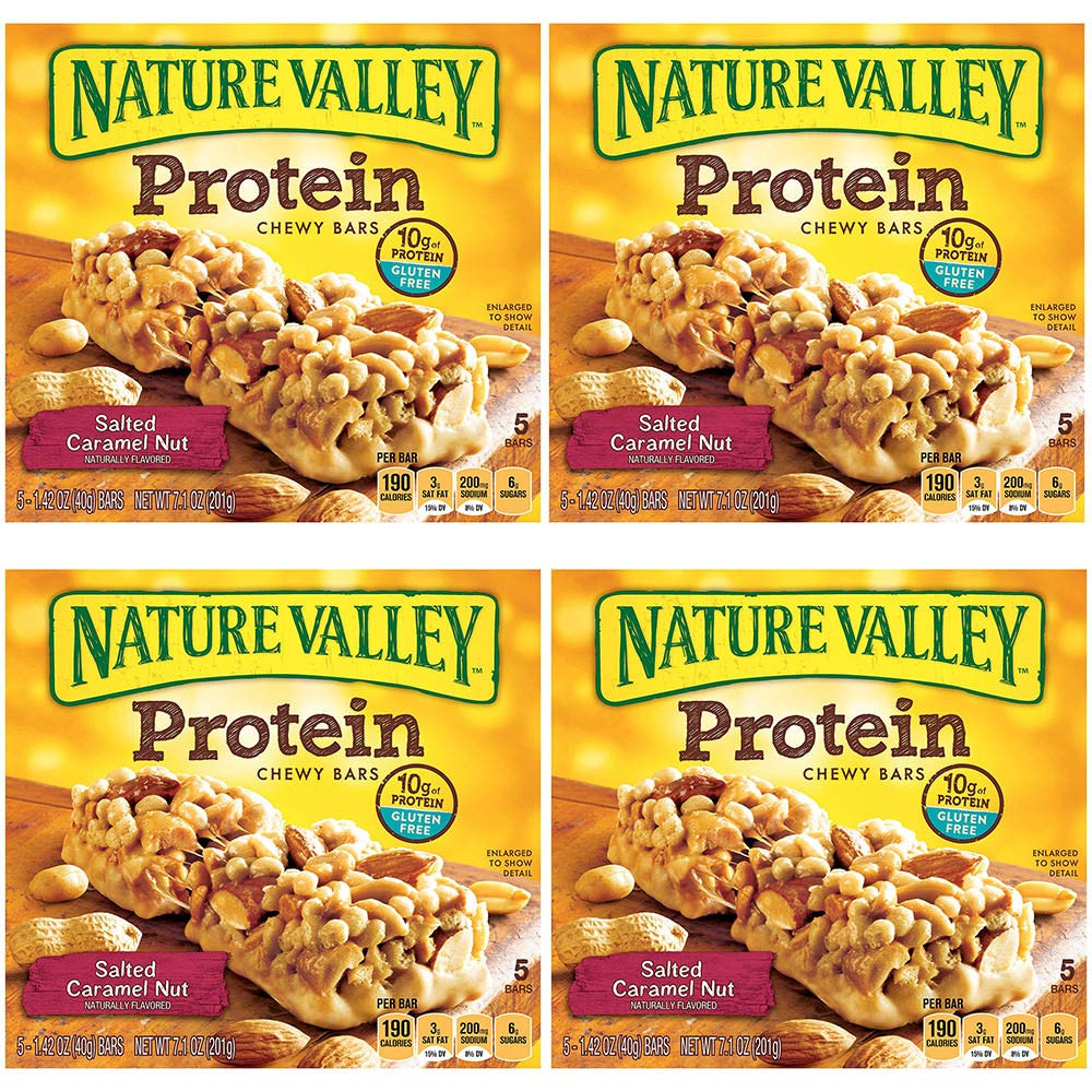 Nature Valley Chewy Granola Bar, Protein, Gluten Free, Salted Caramel Nut, 5 Bars (4 Boxes)