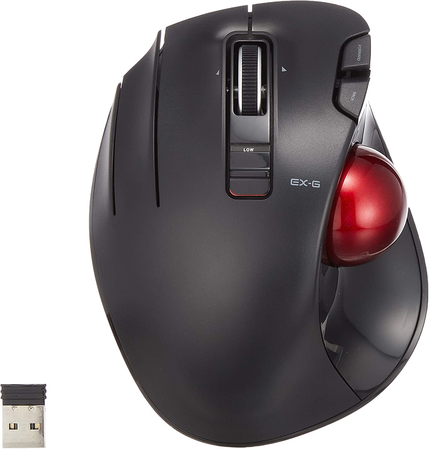 M-XT4DRBK-G 6-Button Function with Smooth Tracking Precision Optical Gaming Sensor ELECOM Left-Handed Wireless Thumb-Operated Trackball Mouse