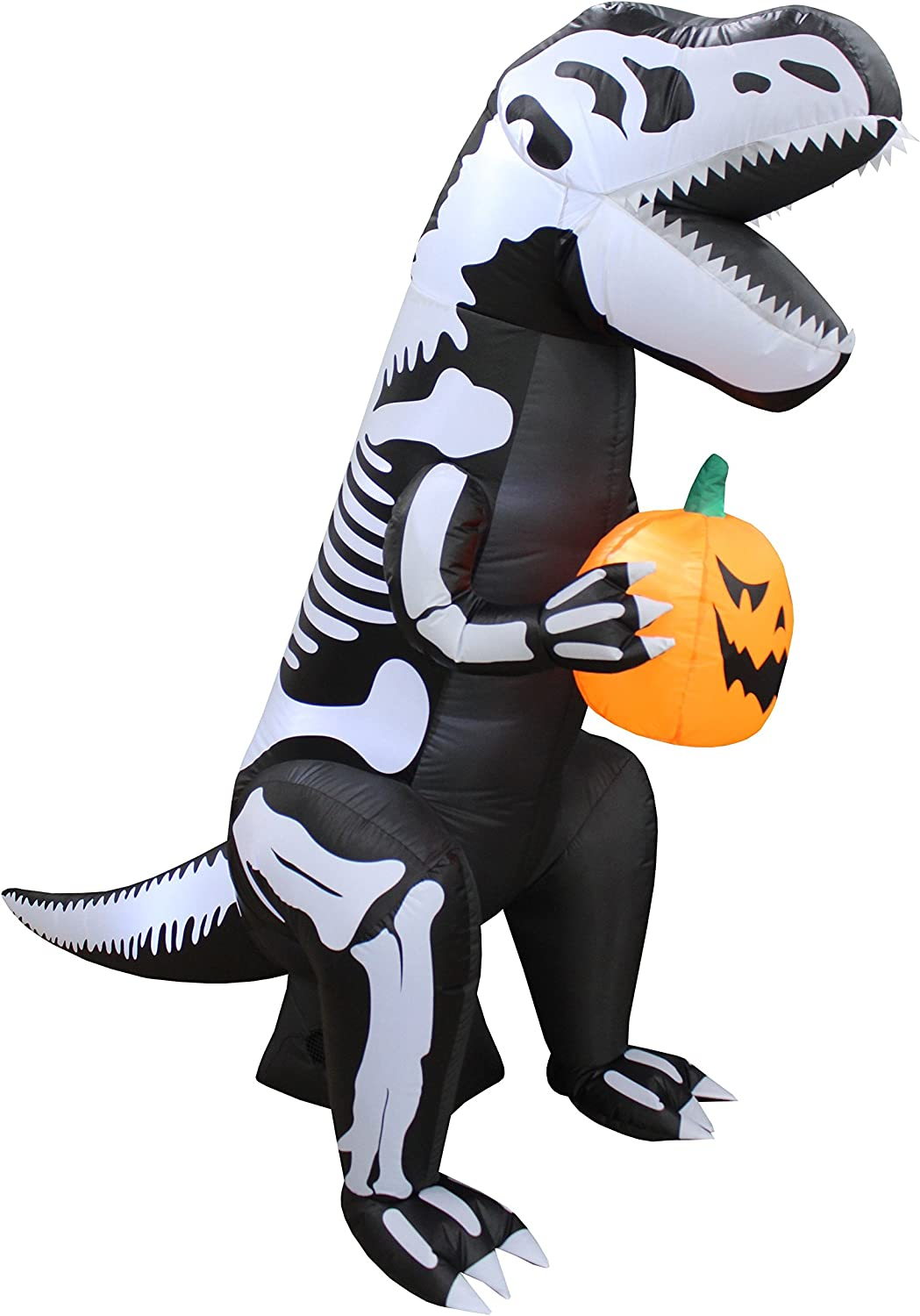 BZB Goods 6 Foot Tall Halloween Inflatable Skeleton Dinosaur Tyrannosaurus T-Rex with Pumpkin Lights Lighted Blowup Party Decoration for Outdoor ...