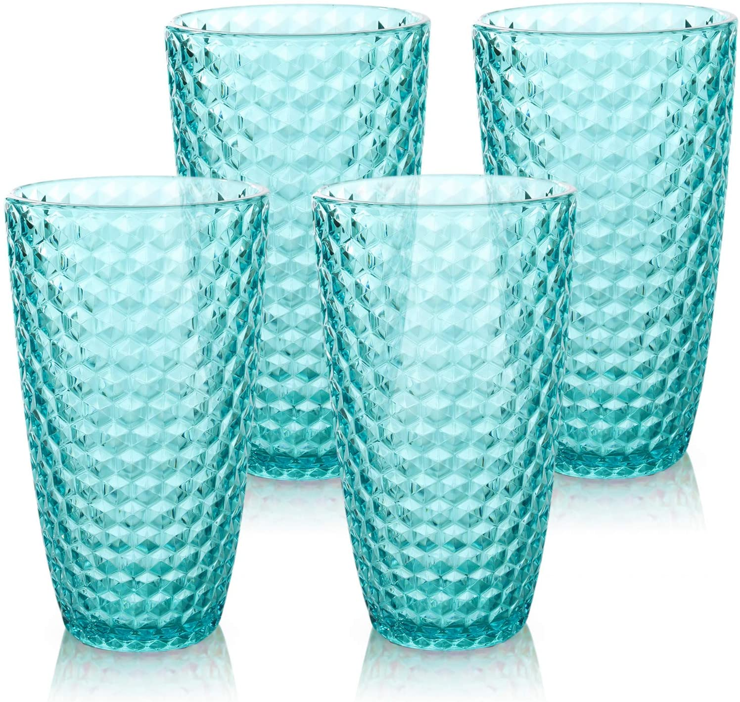 Laguna Beach Tall Tumbler Blue, 19oz, Set of 4, Shatterproof Tritan Drinking Glasses, Plastic Tumblers - Unbreakable Glassware for Indoor and Outdoor Use - Reusable Drinkware