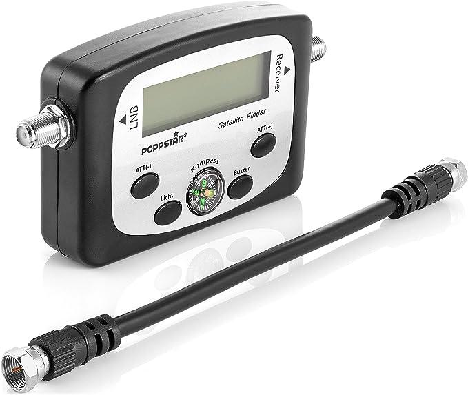 Poppstar Digital Satfinder (Dispositivo de medición Digital Sat Finder para Antena parabólica, alineación/Ajuste Exacto), Incl. Cable coaxial de 19,5 ...
