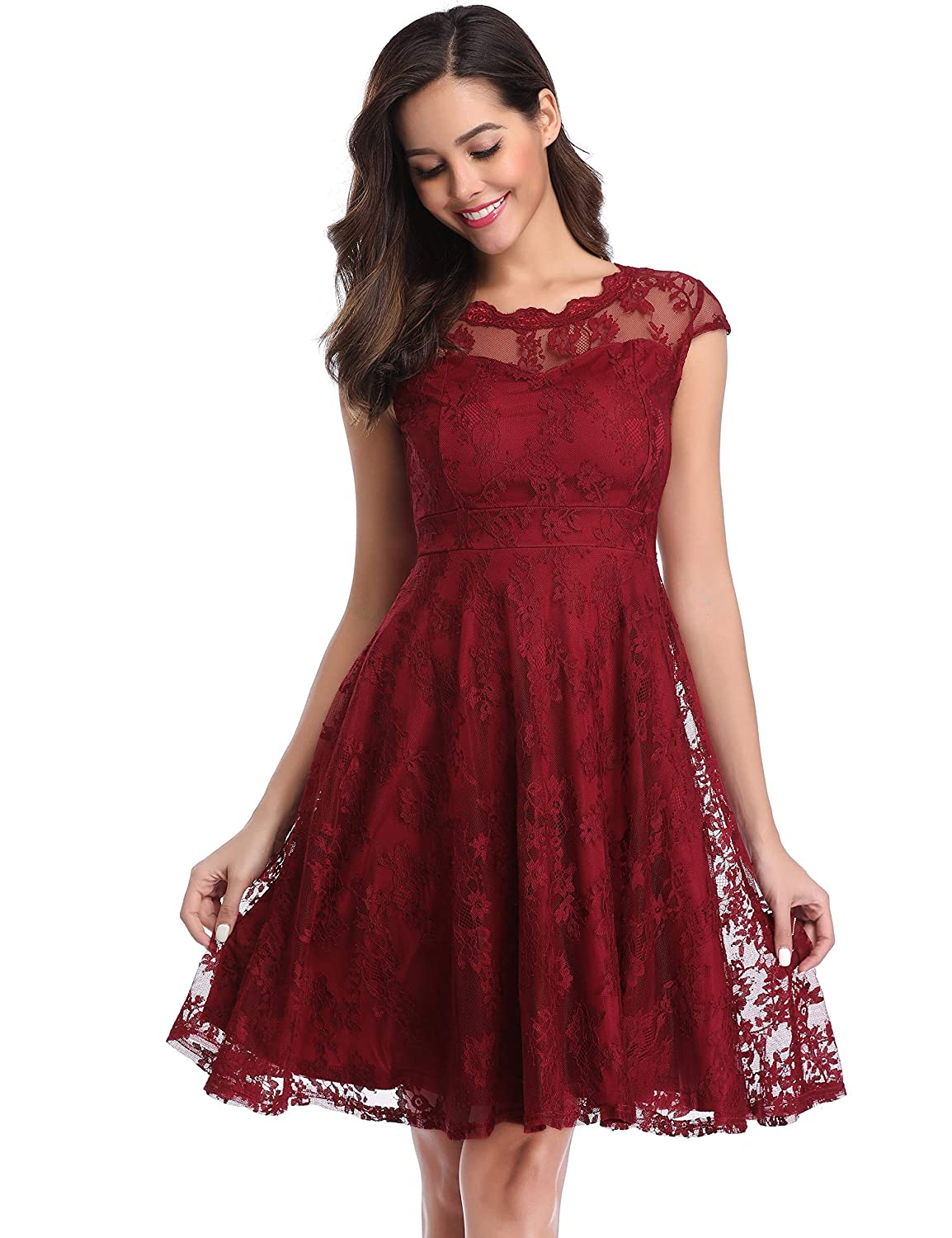 CHUNNA Womens Vintage Floral Lace Cap Sleeve Fit Flare Elegant Cocktail Party Dress