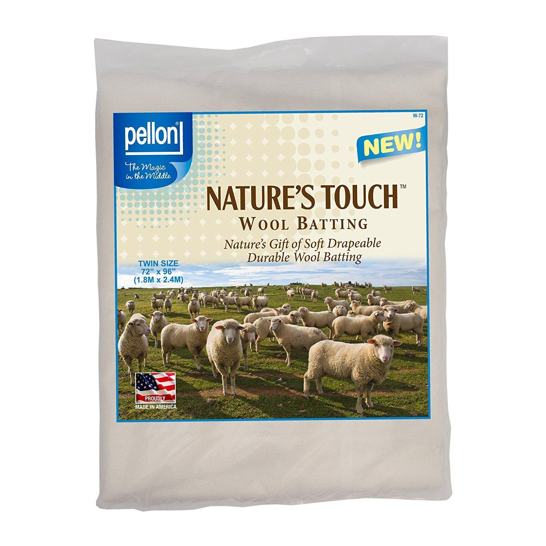 Pellon W-72 Twin Size Wool Batting, 72 by 96, White 72 by 96