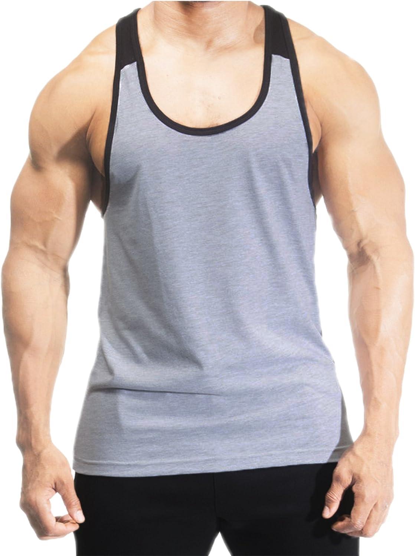 DK Active Wear Canottiera da uomo 100/% cotone 2/tonalit/à con retro a Y e spalle scoperte