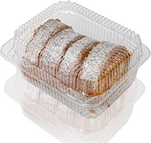 "Clear Plastic Hinged Food containers - Sturdy Disposable Bakery Lid Cookie Container Boxes - 7""x 6""x3.5"" (40)"
