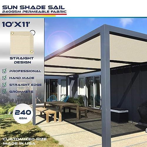Windscreen4less Straight Edge Sun Shade Sail,Rectangle Heavy Duty 240GSM Outdoor Shade Cloth Pergola Cover UV Block Fabric – Custom Size Beige 10 X 11