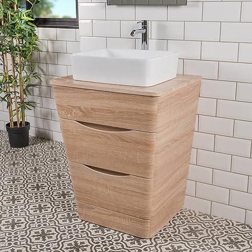 Badezimmer 650 Waschtisch Unterschrank Eiche Hell U0026 Aufsatz Waschbecken  Rechteck Pictures Gallery