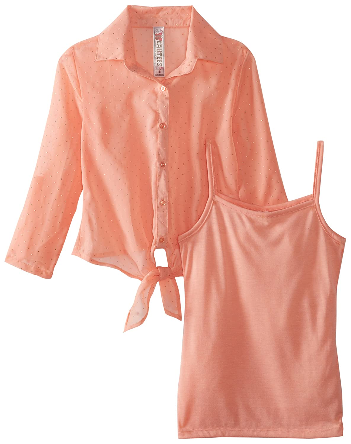 Beautees Big Girls Woven Tie Front Top with Tank