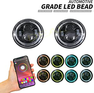 """DEAL 2x 7"""" 60W Bluetooth Controlled Round RGB Halo Ring LED Headlights Fit For Any Models With 6012/6014 / 6015 / H6017 / H6024 Round Sealed Beam Headlights"""