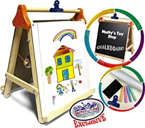 Matty's Toy Stop Deluxe 3-in-1 Wooden Tabletop Easel with Blackboard, Dry Erase, Paper Roll, Paper Clip & Accessories Exclusive