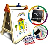 """Deluxe 3-in-1 Wooden Tabletop Easel with Blackboard, Dry Erase, Paper Roll & Accessories - """"Matty's Toy Stop"""" Exclusive"""