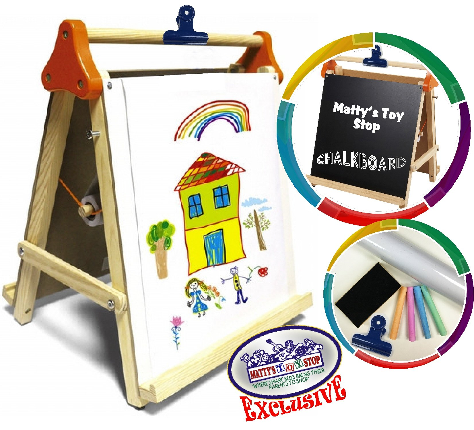 Deluxe 3-in-1 Wooden Tabletop Easel with Blackboard, Dry Erase, Paper Roll & Accessories - ''Matty's Toy Stop'' Exclusive