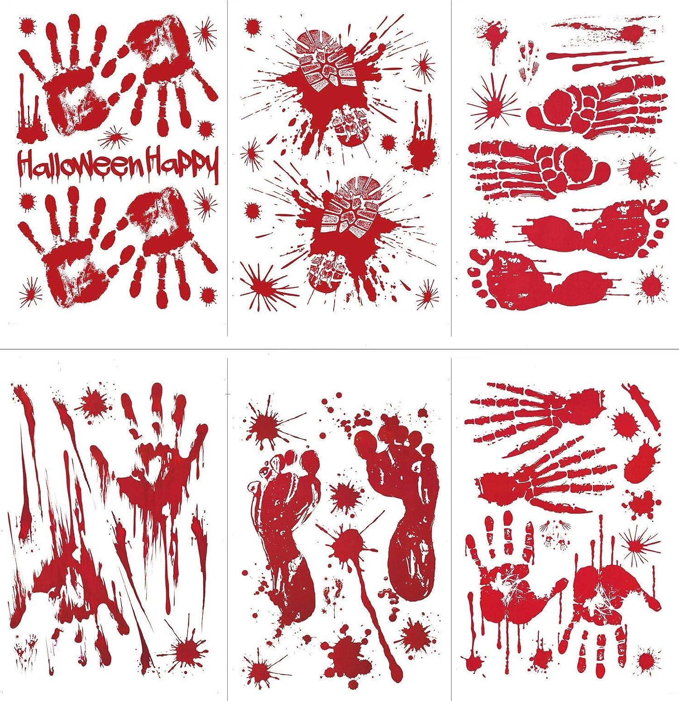 Tuopuda 6 fogli Halloween Adesivi Bloody Footprints Handprints Horror Adesivi Murali Adesivi Finestra Halloween Decorazioni (rosso) Tuopuda-TN-2018090407A