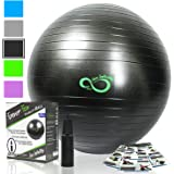 Exercise Ball -Professional Grade Exercise Equipment Anti Burst Tested with Hand Pump- Supports 2200lbs- Includes Workout Guide Access- 55cm/65cm/75cm/85cm/95cm Balance Balls