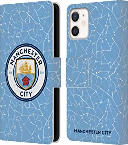 Head Case Designs Officially Licensed Manchester City Man City FC Home 2020/21 Badge Kit Leather Book Wallet Case Cover Compatible with Apple iPhone 12 Mini