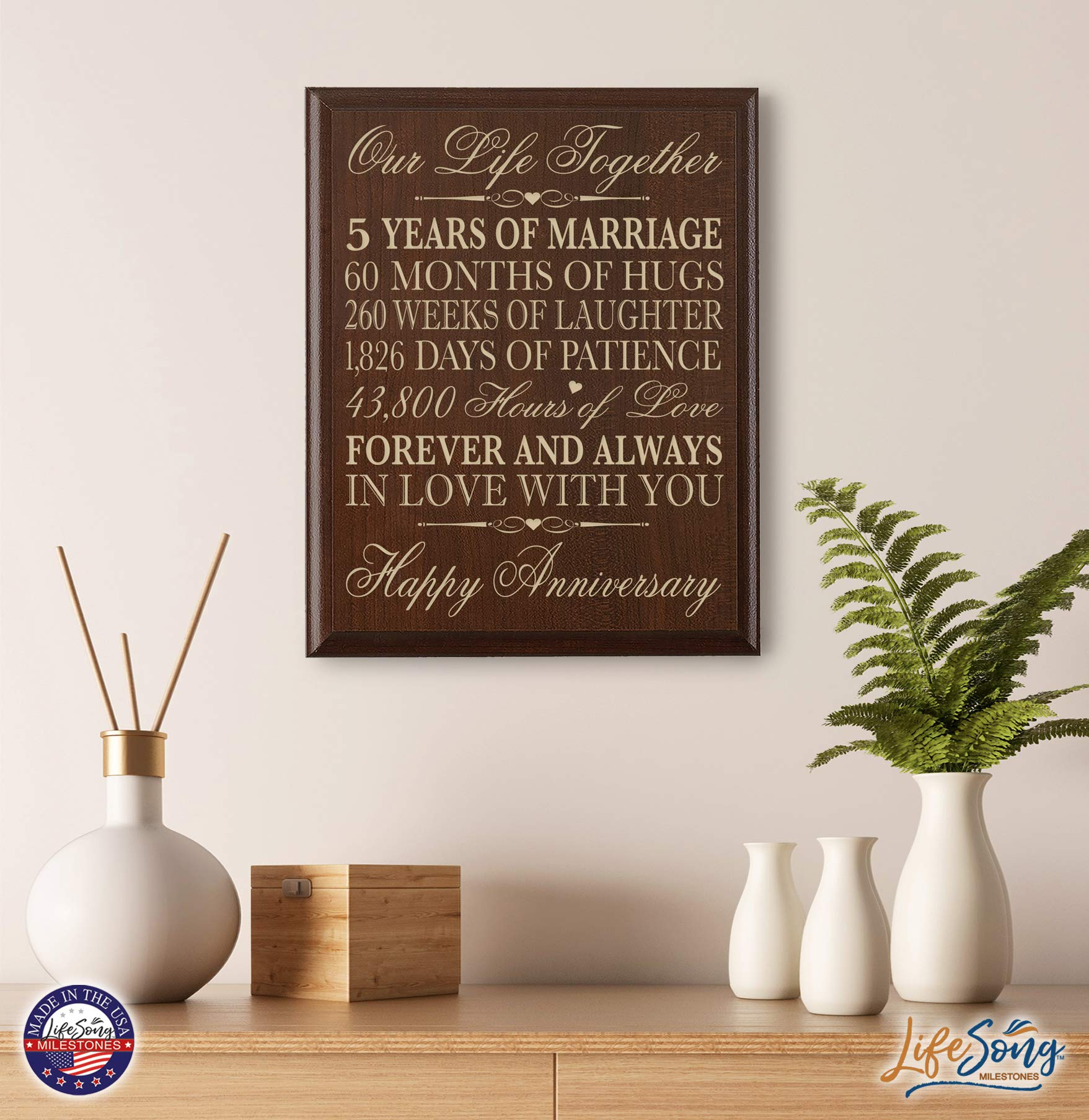 LifeSong Milestones 5th Wedding Anniversary Cherry Wall Plaque Gifts for Couple, 5th Anniversary Gifts for Her,5th Wedding Anniversary Gifts for Him 12 inches wide X 15 inches high Wall Plaque By by LifeSong Milestones (Image #2)
