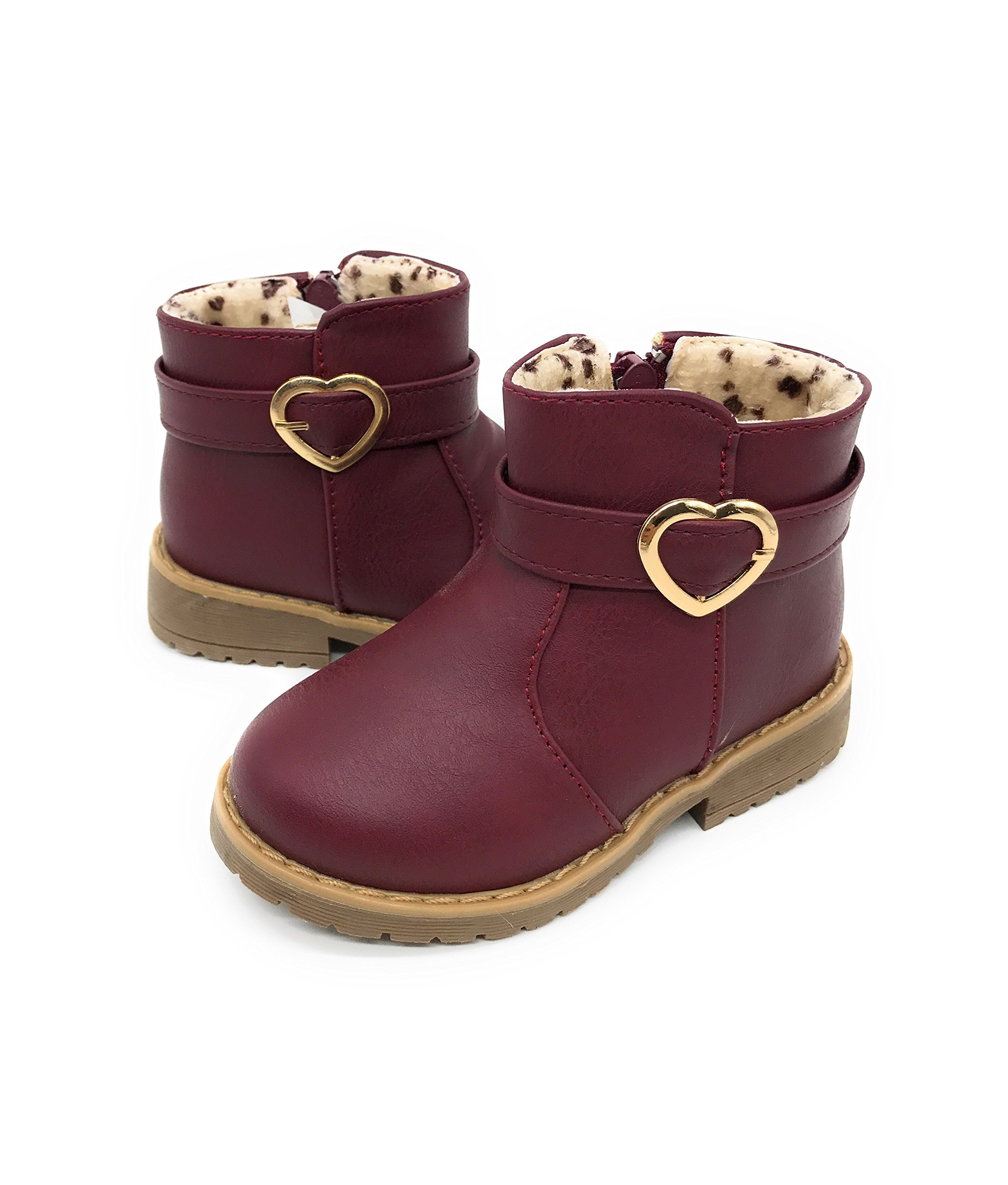 Blue Berry EASY21 Girls Zip Mid Calf Motorcycle Toddler/Infant Winter Boots,Burgundy 17,Size 5