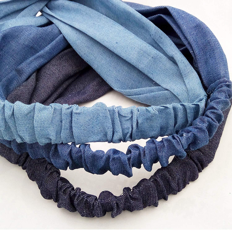 Girls Hair Rope Denim Fabric Elastic Headbands Stretch Twisted Cross Turban Headwrap Girls Hair Bands,Deep Blue