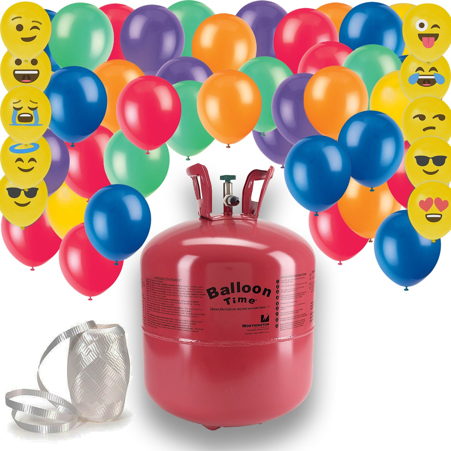 Helium Tank + 50 Multi Color balloons + White Curling Ribbon | Includes 10 emoji Balloons. 14.9 CU Ft Helium, Enough for 50 9'' Balloons