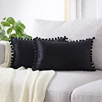 Top Finel Decorative Throw Pillow Covers with Pom-poms Soft Particles Velvet Solid Cushion Covers for Couch Bedroom Car, Pack of 2