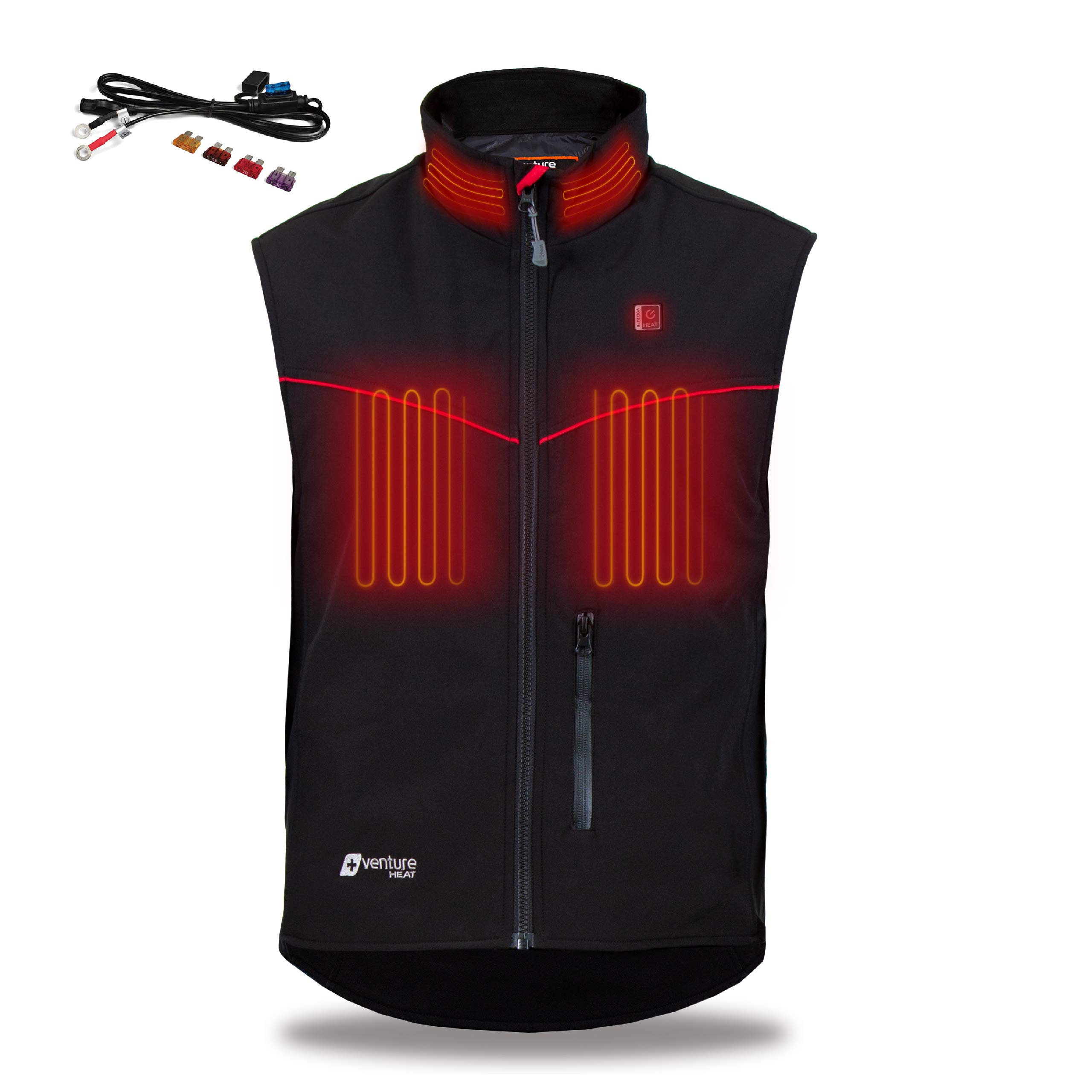 Venture Heat 12V Motorcycle Heated Vest - 15.0W Hybrid Heated Motorcycle Vest for Men and Women