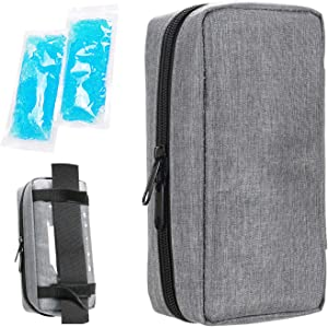 Insulin Cooling Travel Case - Portable Diabetic Supplies Organizer Cooler Bag with 2 Ice Pack by YOUSHARES (Grey)