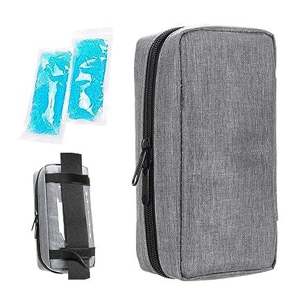 Estuche de viaje para diab/ético insulina enfriador refrigeraci/ón organizar medicamento aislado bolsa con 2 bolsas de hielo azul