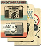 """Cavallini Papers - Mini Cuadernos de 10.1 cm por 14 cm (4"""" por 5.5"""") con Diseños Antiguos, Juego de 3"""