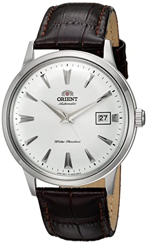 Orient Men's '2nd Gen. Bambino Ver. 1' Japanese Automatic Stainless Steel and Leather Dress Watch, Color Brown (Model: FAC00005W0)