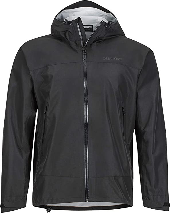 Image of the Marmot Eclipse Jacket with black color zipper as closure, extended neck cover.