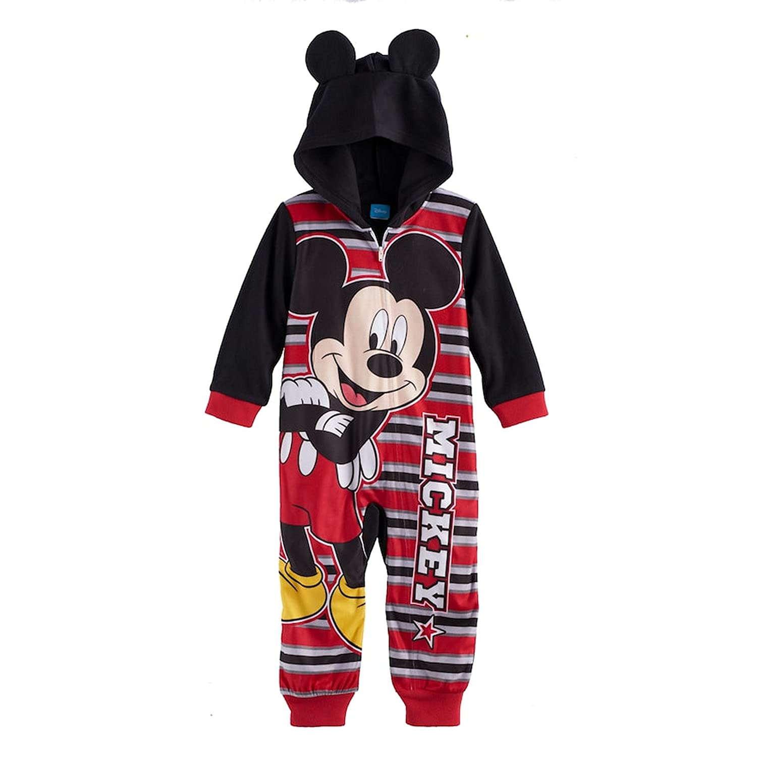 f5b8a1b541d5 Amazon.com  Disney s Mickey Mouse Hooded One-Piece Pajamas Toddler ...