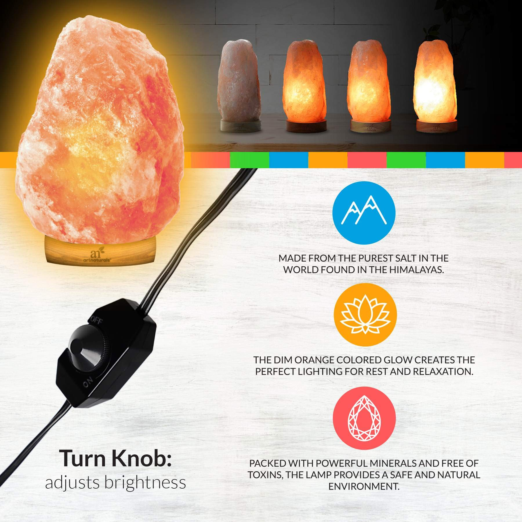 ArtNaturals Himalayan Rock Salt Lamp - Hand Carved Pink Crystal from Pure Salt in the Himalayas - for Rest, Relaxation and Energy - Real Wooden Base by ArtNaturals (Image #2)