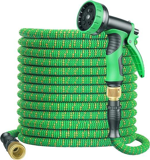 BOIROS Manguera Jardin Manguera Extensible 30M/100FT Mangeras Flexibles Extensible con Pistola de 9 Funciones de Aeroso y 2 Conector Rápido de Latón 1/2 y 3/4, Mangueras de Riego Resistente: Amazon.es: Jardín