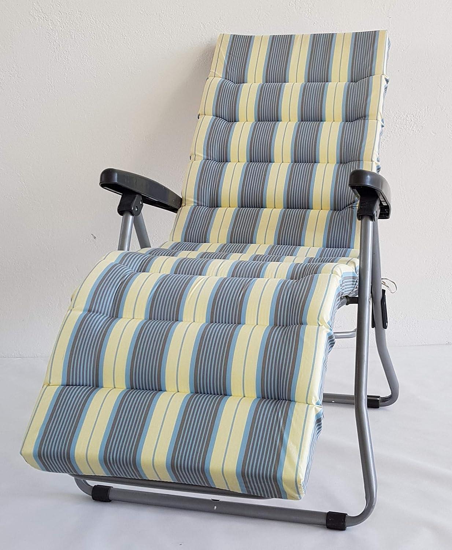 Trapuntato Colore Rigato Azzurro Grigio Ecru TECNOWEB Materassino Ricambio per Sdraio con poggiapiedi 6cm