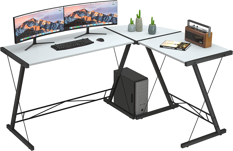 L Shaped Desk Home Office Desk with Round Corner.Coleshome Computer Desk, PC Table Workstation, White